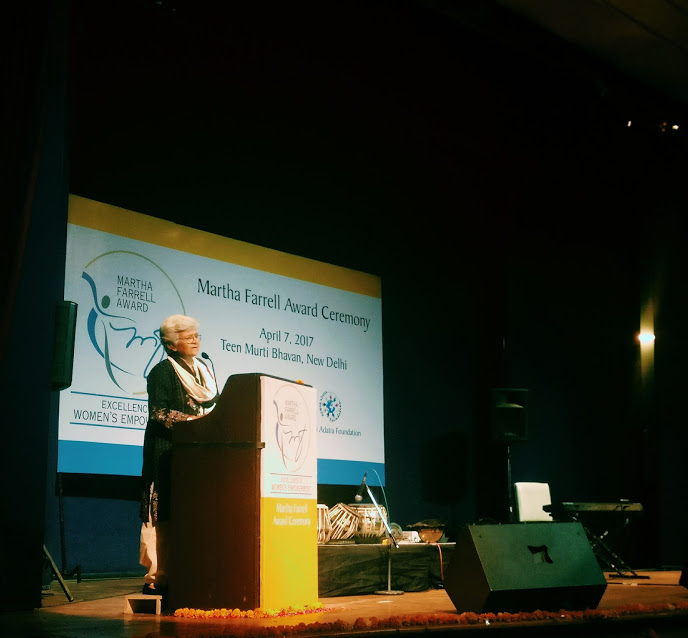 Kamla Bhasin gender equality activist, speaking at the award ceremony